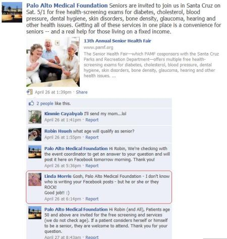 Palo Alto Medical Foundation FaceBook screen capture